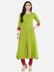 Cotton Slub Mirror Work Anarkali Kurta
