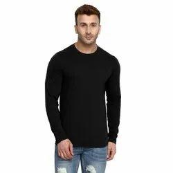 Plain Black and White Men Cotton Full SleevesT Shirts, Size: S-XXL