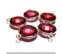 Ruby Quartz Gemstone Bezel Connectors
