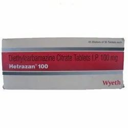 HETRAZAN Diethylcarbamazine Citrate tablets 100mg, Packaging Type: Strip