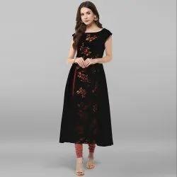 Crepe Black Fancy Stitched Anarkali Kurti, Size: S, M and L
