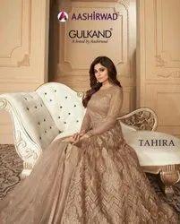 Aashirwad Gulkand Tahira Party Wear Georgette Net Gowns Catalog