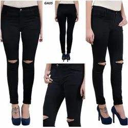 Mm-21 Black Knitted Denim Knee Cut Skinny Fit Jeans For Women