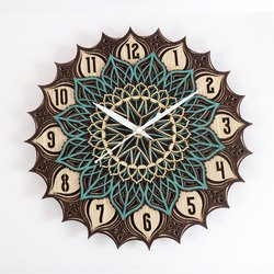 JD Multi Multicolor JDC005 Multilayer Wood Finish Decorative Wall Art Clock, Size: 12x12 Size