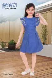 Cotton Regular Wear Girls frock, Size: 30.0, Age Group: 4-10
