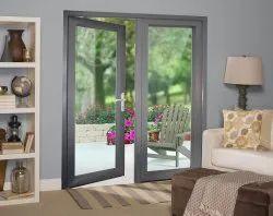Tempered Glass Lever Handle Grey UPVC French Door, 7 Mm
