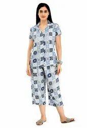 women Printed Cotton Night Suit Set