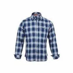 Cotton Blue Mens Full Sleeve Check Shirts, Handwash