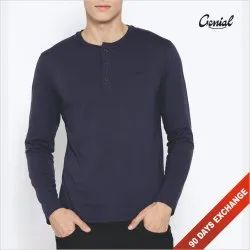 Male Cotton Full Sleeve Henley Neck T-shirt, Size: S to 2XL
