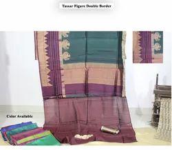 Tassar Pure Silk Figure Double Border Saree, 6.5 Meter