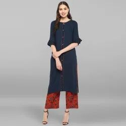 Janasya Women''''s Navy Blue Rayon Kurta With Palazzo(SET135)