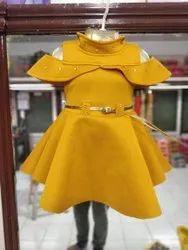 Lycra Cotton Kids Short Midi Dress, Size: 18,20