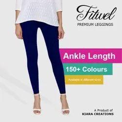 150+ colours Fitwel Ankle Length Cotton plain Leggings, Size: Free Size