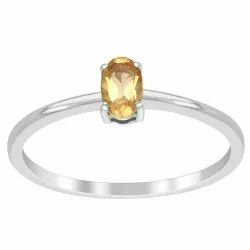 Solitaire Ring 925 Sterling Silver Citrine Gemstone Tiny Ring
