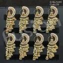 Traditional Polki Stone Pearl Beaded Chandelier Jhumka Earrings