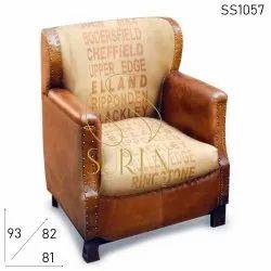 Suren Space European Hotel Vintage Leather Sofa, Size: 81 X 82 X 93 Cm