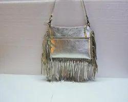 Fringe Silver Leather Designer Sling Bag