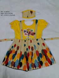 Latest Colorful Printed Frock With Mask For Girls