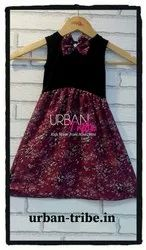 Urban Tribe Wine Printed Dress With Bow.