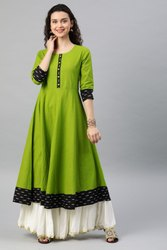 Cotton Slub Printed Anarkali Kurta