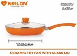 Nirlon Ceramic Nonstick Aluminium Induction Frying Pan with Lid, 1.5 litres, Orange