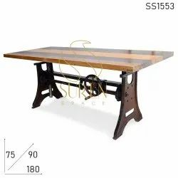 Suren Space Brown Cafeteria & Pub Tables, Seating Capacity: 6, Size: 180 X 90 X 75 Cm