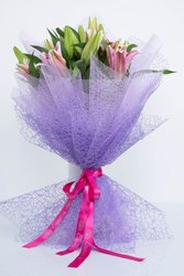 Pink Oriental Lily & Pink Wax Flowers