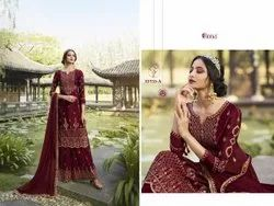 Staright Semi-Stitched Designer Faux Georgette Embroidery Salwar Suit, Dry clean