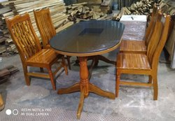 Oval Shape Teak Wood Cum Glass Top Dining Table