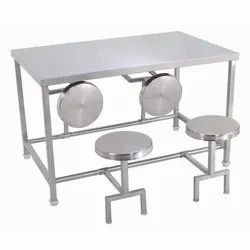 FZ Equipments Silver 4 Seater Stainless Steel Dining Table, For Restaurant