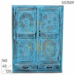 Wooden Blue Hotel and Resort Storage Cabinets