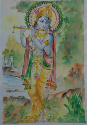 Paper Without Frame Painting Of Lord Shri Krishna Size A4 Size Id 22638360291