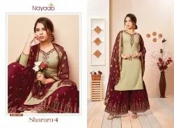 Nayaab Yoke Design Beige Kurta With Maroon Sharara