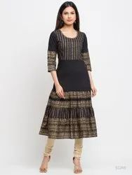 Cotton Gold Print Anarkali Kurta