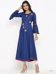 Rayon Solid Applique Work Anarkali Kurta