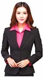 Solid Polyester Women Formal Blazer
