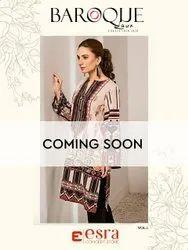Jam Satin Cotton Pakistani Baroque Lawn 2020 Vol 1 Esra Karachi Dress Material, Handwash