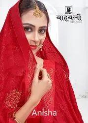 Bahubali Border Anisha Saree, With Blouse Piece