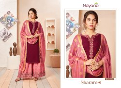 Nayaab Yoke Design Maroon Kurta With Coral Pink Sharara