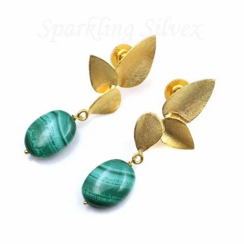 Gold plated Malachite tumble Earring