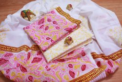 UNI Coloured Cotton Handblock Printed Suit With Mul Mul Dupatta