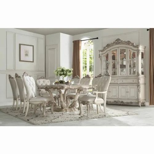 Wooden Cream White Glass Top Dining Table Set For Home Size 7x4ft Rs 160000 Set Id 22602542491
