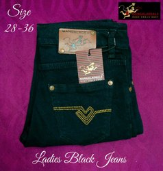 Ladies Black Denim Jeans, 28-36