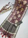 Linen Silk Saree With All Over Embroidered Work And Zari Woven