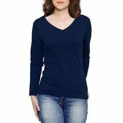 Punay Blue V Neck Ladies T-Shirt
