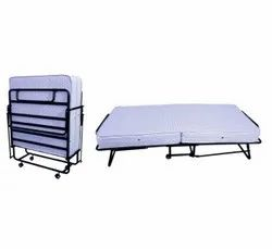 Metal Black Roll Away Bed With 6 Spring Mattress