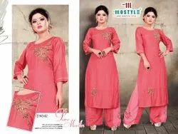 Ankle Length Round Neck Pure Muslin Kurti With Plazzo