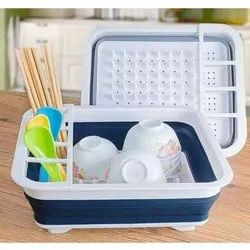TPE and PP Free Standing Silicone Collapsible Foldable Storage Kitchen Rack