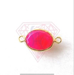 Hot Pink Chalcedony Bezel Connector