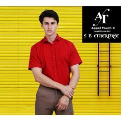 Appel Touch Cotton Men Red Half Sleeve Shirt, Handwash
